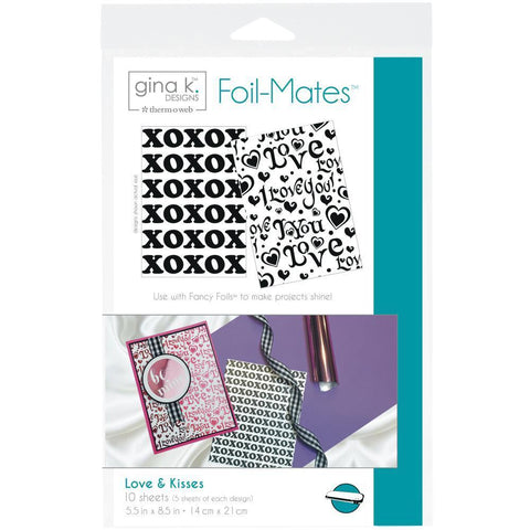 Gina K Designs Foil-Mates Background 5.5x8.5 inch 10 pack - Love & Kisses