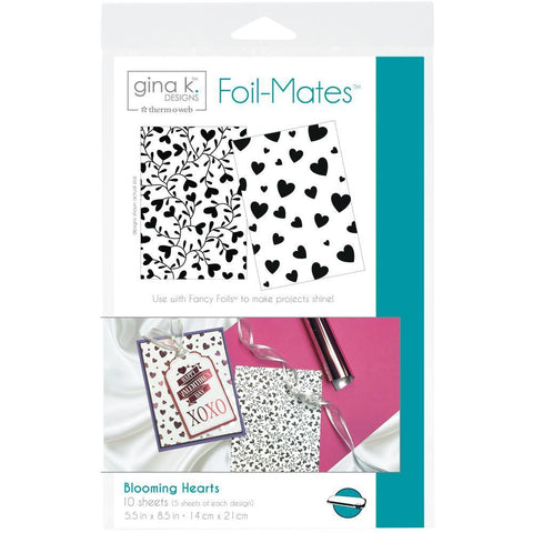 Gina K Designs Foil-Mates Background 5.5x8.5 inch 10 pack - Blooming Hearts
