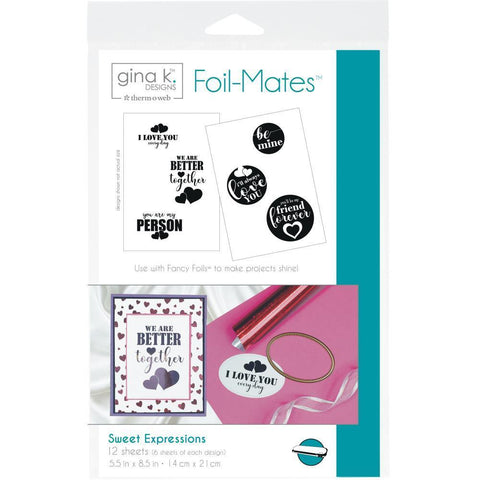Gina K Designs Foil-Mates Sentiments 5.5x8.5 inch 12 pack - Sweet Expressions