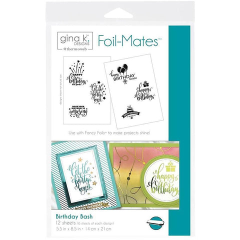 Gina K Designs Foil-Mates Sentiments 5.5 x8.5 inch 12/ pack - Birthday Bash