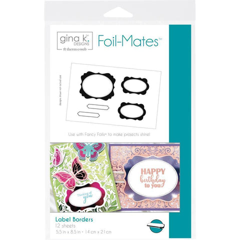Gina K Designs Foil-Mates Sentiments 5.5x8.5 inch 12/ pack - Label Borders