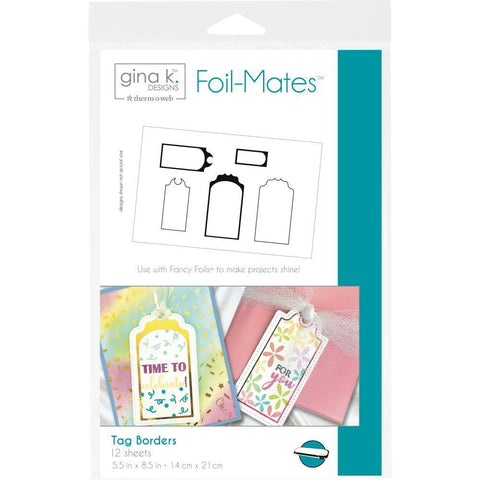 Gina K Designs Foil-Mates Sentiments 5.5x8.5 inch 12/ pack - Tag Borders