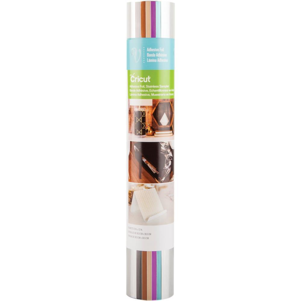 Cricut Adhesive Foil 12 inch X12 inch Stainless Sampler 6 pack Assorted Colours
