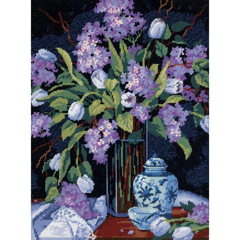 Dimensions Needlepoint Kit 12 inch X16 inch Tulips & Lilacs Stitched In Floss
