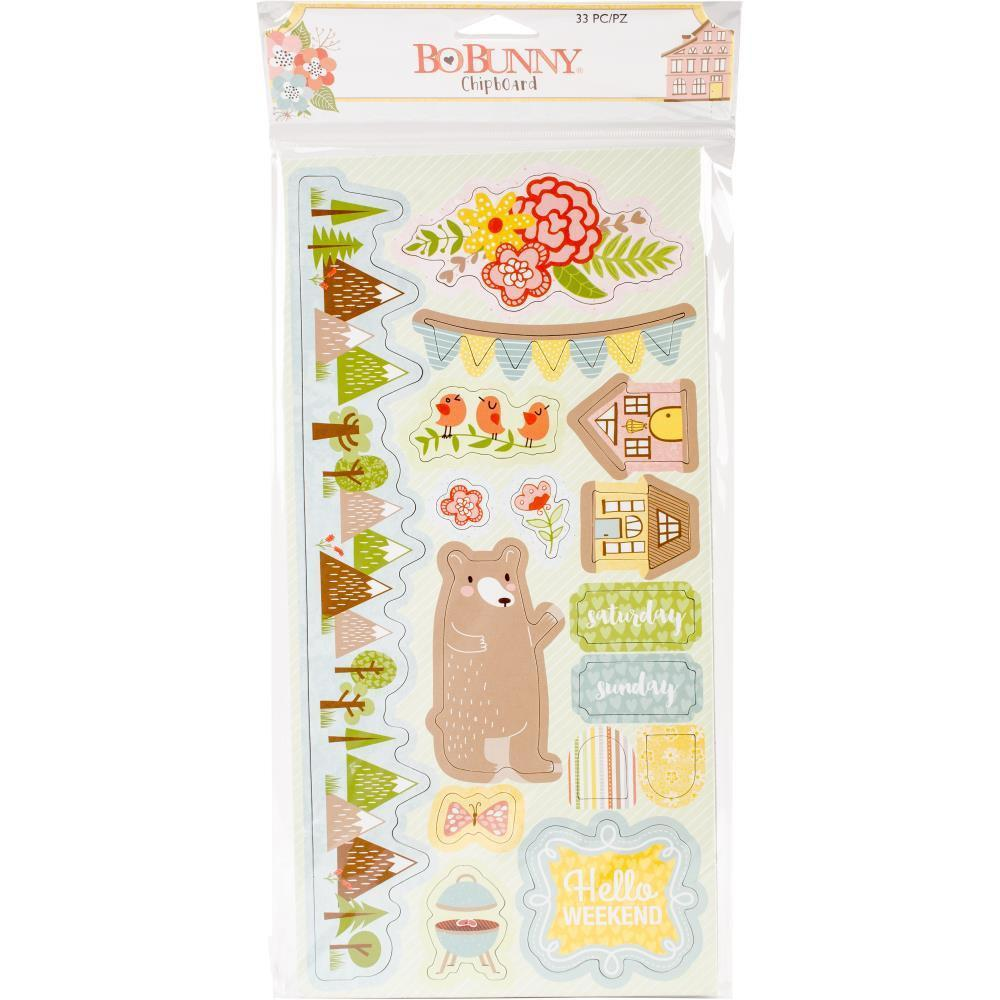 Bo Bunny Adhesive Chipboard Accents 6x12 inch - Weekend Adventures