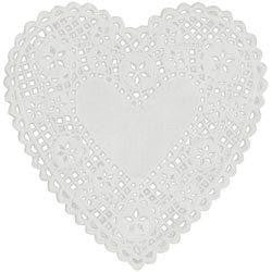 Royal Lace - White Heart Doilies 6 Inch (Pack 18)