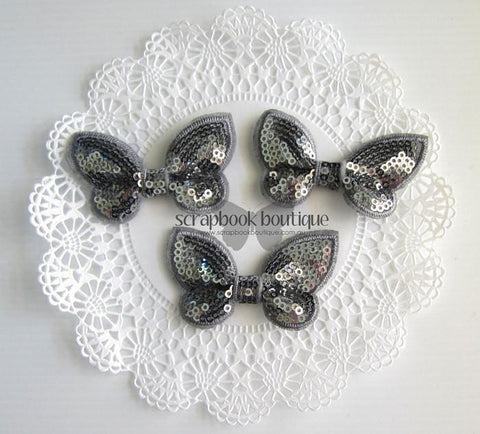 Boutique Crafts - Sequin Butterflies - Grey - 6Cm (3 Pack)