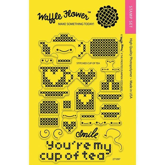 Waffle Flower Clear Stamps - Stitched Cup Of Tea