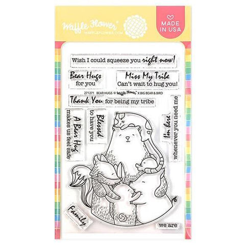 Waffle Flower Crafts Clear Stamps 4 inchX6 inch - Bear Hugs