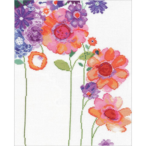 Design Works Counted Cross Stitch Kit 11x14 inch - Watercolour Garden (14 Count)