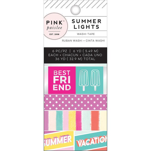 Pink Paislee Summer Lights Mini Washi Tape 6 pack with Holographic Foil, 6 Yards Each