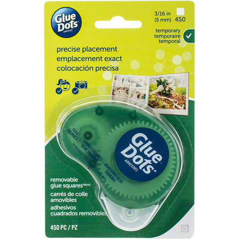 Glue Dots Non-Refillable Runner Removable Squares .1875 inch 450 pack