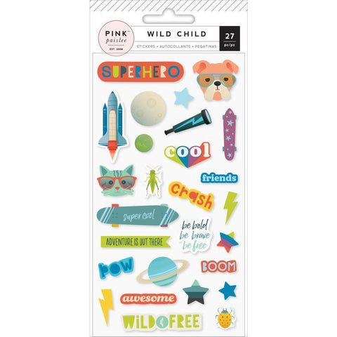 Pink Paislee - Puffy Stickers - Wild Child, Boy