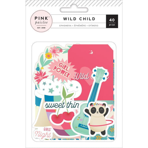 Pink Paislee - Ephemera Cardstock Die-Cuts 40 Pk - Wild Child, Girl w/ Teal Foil