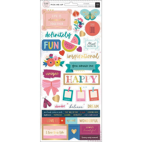 Pink Paislee - Paige Evans Pick Me Up Cardstock Stickers 5.5x12 inch 2 pack - Accents & Phrases with Gold Foil