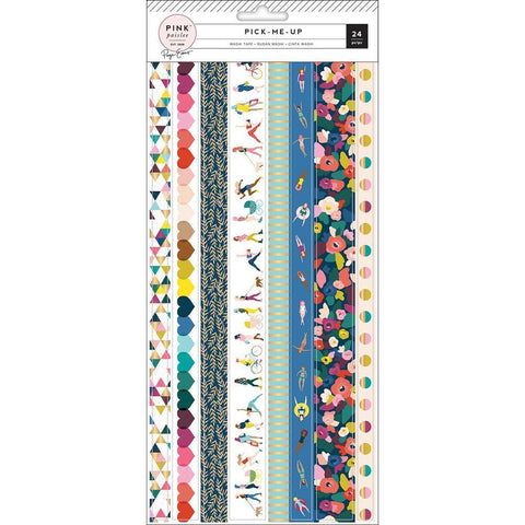 Pink Paislee - Paige Evans Pick Me Up - Washi Sticker Sheets 3 pk Strips with Gold Foil