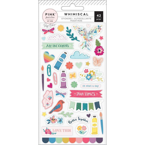 Pink Paislee - Paige Evans Whimsical Puffy Stickers - Icons & Phrases