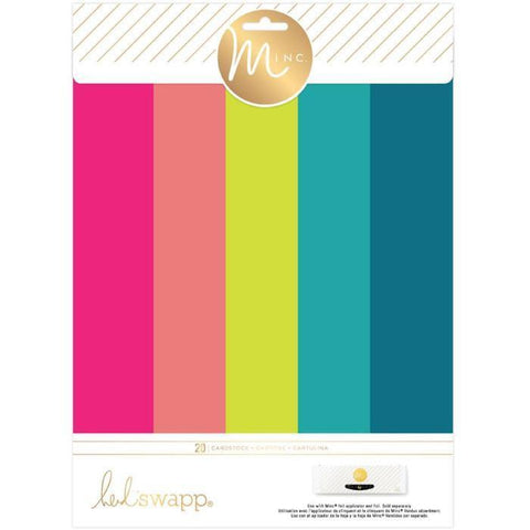 Heidi Swapp Minc Surfaces - Cardstock Pack 20 Sheets 8.5 X 11 Inch - Brights