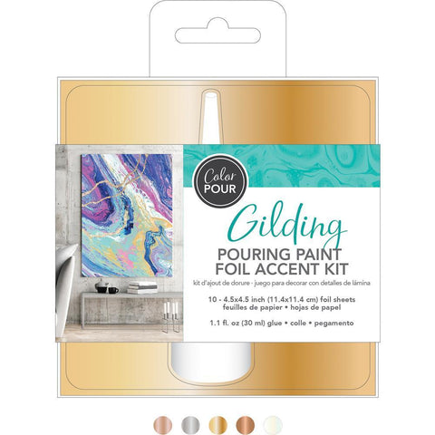 American Crafts Colour Pour Gilding Kit 11 pack with Metallic Foils