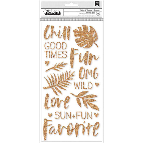 Crate Paper - Wild Heart Thickers Stickers 5.625x12.55 inch 2 pack - Chill Phrases & Icons/Copper Glitter