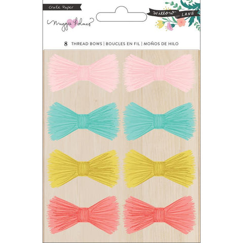 Crate Paper - Maggie Holmes Willow Lane - Adhesive Thread Bows 8 pack