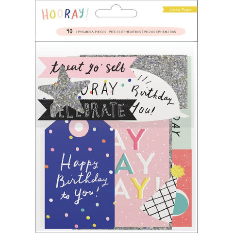 Crate Paper - Hooray Ephemera Cardstock Die-Cuts 40 pack with Glitter Accents