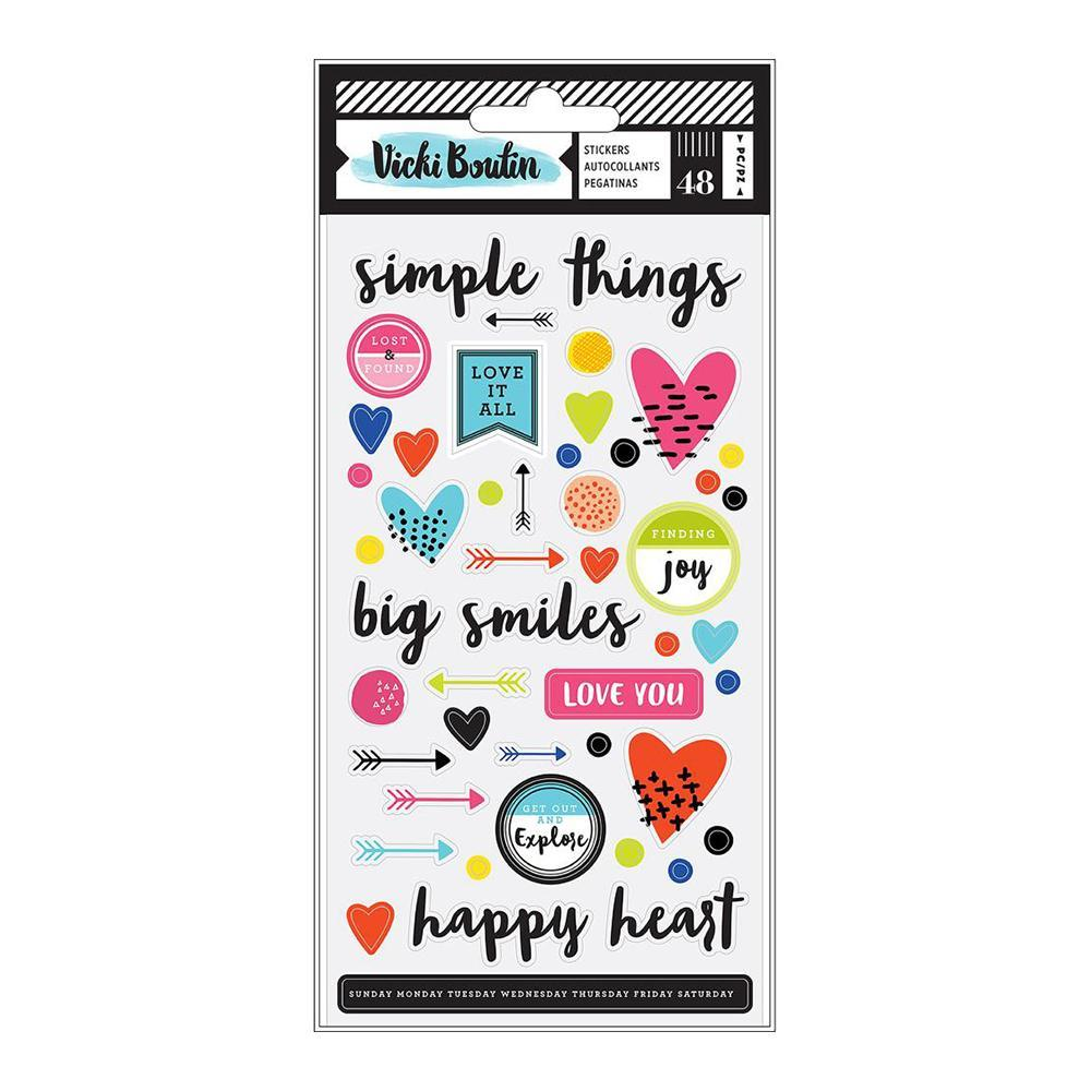 American Crafts - Vicki Boutin Field Notes Puffy Stickers - Icons & Phrases