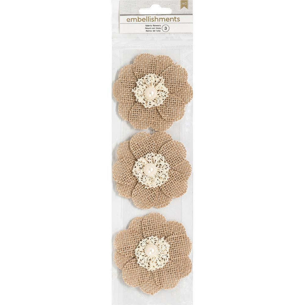 American Crafts Burlap Flowers 3 pack - Pearl & Lace