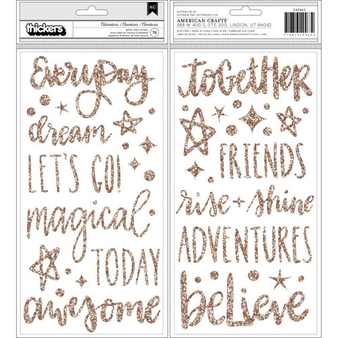 American Crafts - Shimelle Head In The Clouds Thickers Stickers 5.5X11 inch 76 pack - Adventures/Phrases/Foam/Gold Glitter