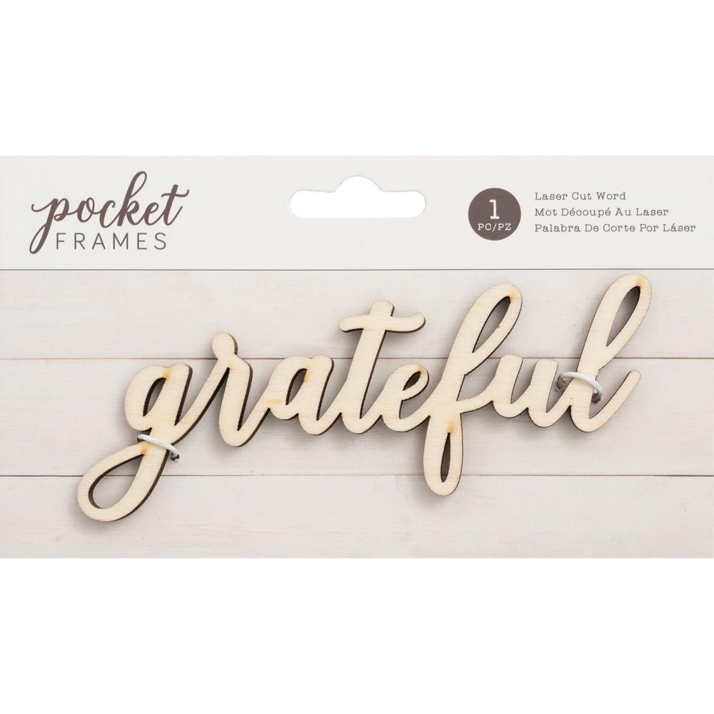 American Crafts Pocket Frames Laser Cut Words Grateful