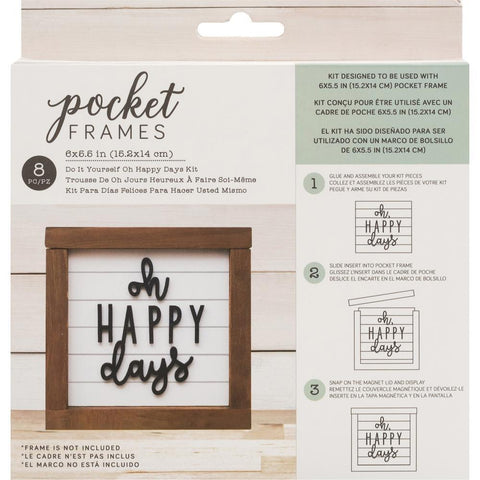 American Crafts Pocket Frames Insert Kit 6 inch X5.5 inch 8 pack Oh Happy Days with Insert