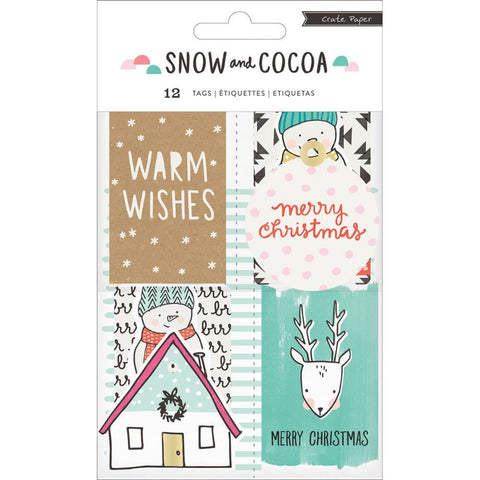 Crate Paper - Cardstock Tags 12 Pk Decor Tags w/ Holiday & Winter Graphics - Snow & Cocoa