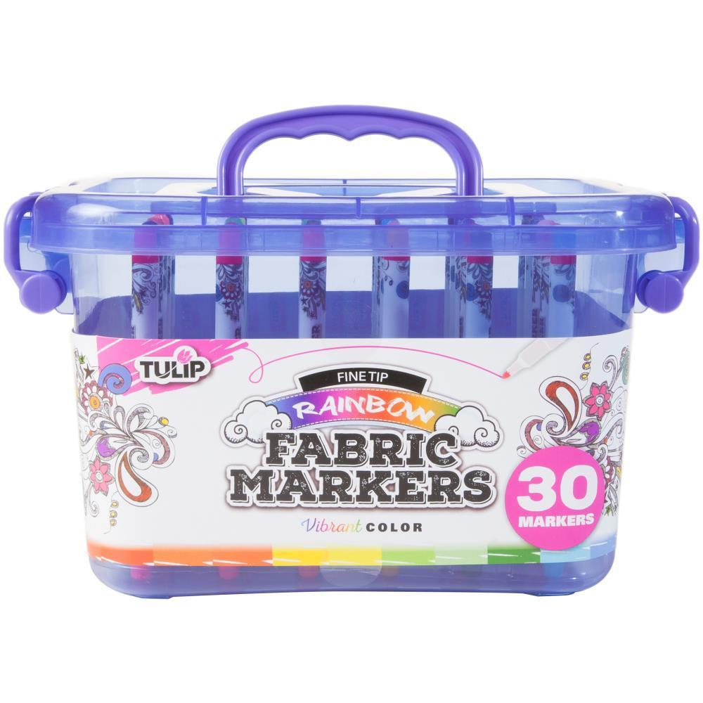 Tulip Fine Tip Fabric Markers with Storage Tub 30 pack