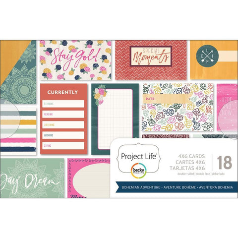 Project Life - Themed Cards 4x6 inch 18/ pack - Bohemian Adventure