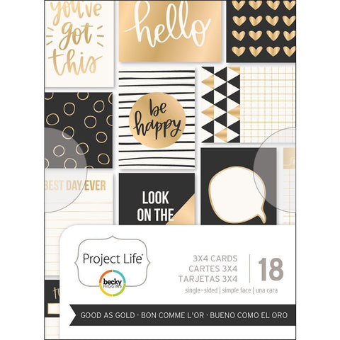 Project Life - Themed Cards 3x4 inch 18/ pack - Good As Gold