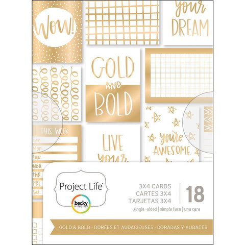 Project Life - Themed Cards 3x4 inch 18/ pack - Gold & Bold