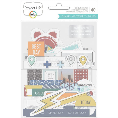 Project Life - Ephemera Die-Cut Shapes 40 pack - Sharp Edition W/Silver Foil