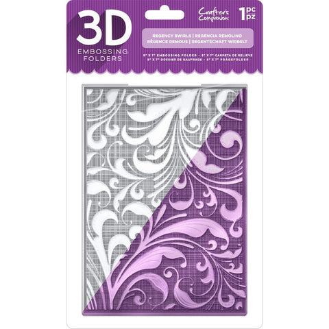 Crafters Companion 3D Embossing Folder 5x7inch - Regency Swirls
