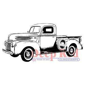 Deep Red Cling Stamp - Classic Pickup Truck