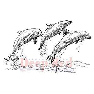 Deep Red Cling Stamp - Dolphins
