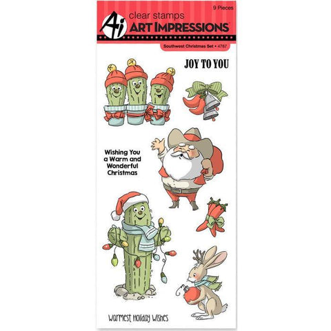 Art Impressions Christmas Cling Rubber Stamp Set 8 Inch X4 Inch Southwest Christmas