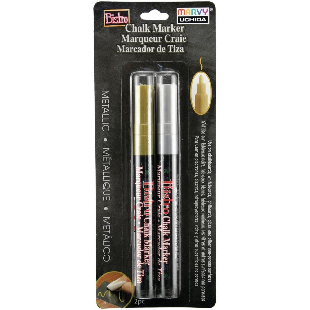 Uchida Bistro Chalk Marker Fine Point Set 2 pack Metallics - Gold & Silver