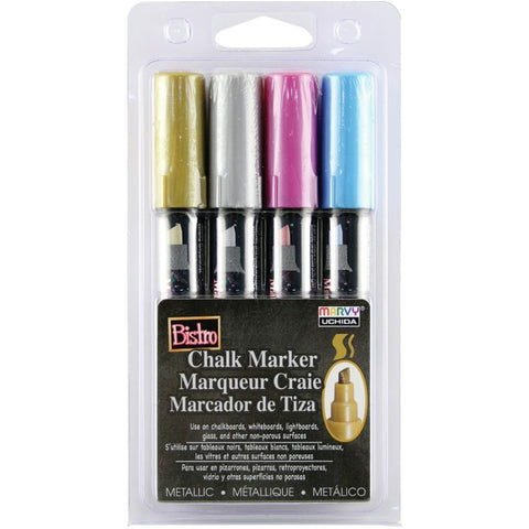 Uchida Bistro Chalk Marker Chisel Tip Set 4 pack Metallics - Gold, Silver, Red & Blue