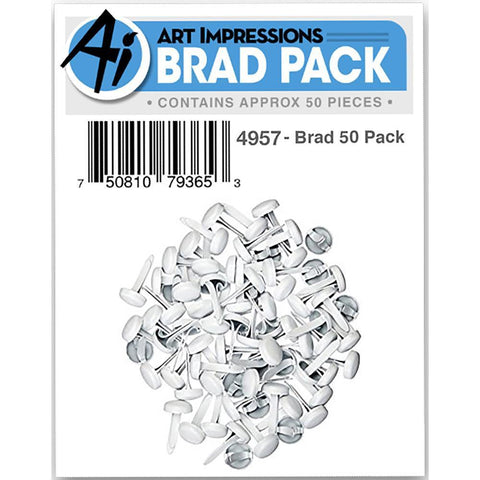 Art Impressions Brads 50 pack White & Silver 3/32 Inch