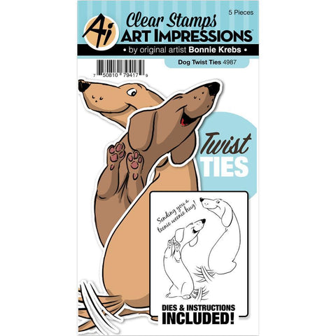 Art Impressions Twist Ties Stamp & Die Set - Dog