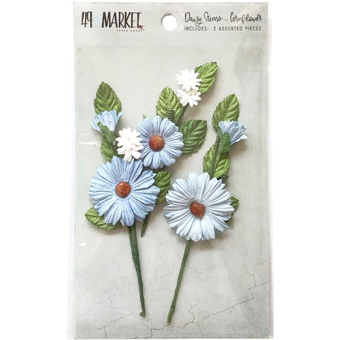 49 And Market - Daisy Stems 3 pack - Cornflower