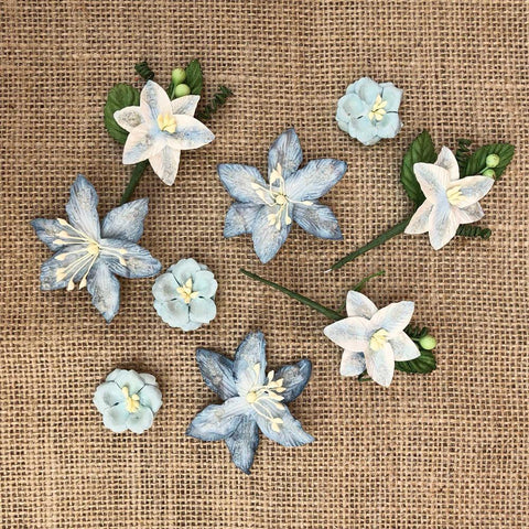 49 And Market Stargazers Paper Flowers 9 pack - Sky Blue