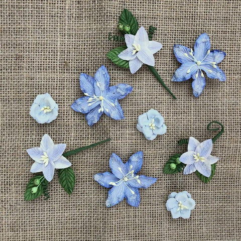 49 And Market Stargazers Paper Flowers 9 pack - Periwinkle
