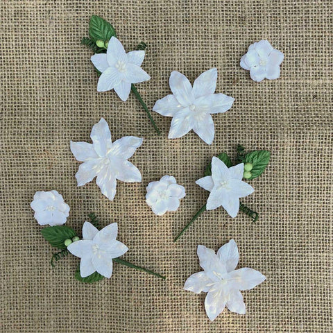49 And Market Stargazers Paper Flowers 9 pack - Simply White