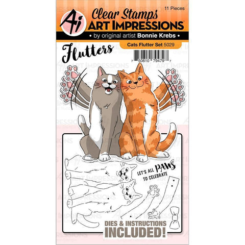 Art Impressions Flutters Stamp & Die Set - Cats